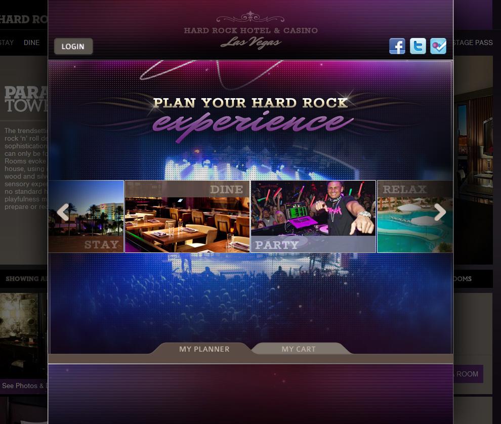 Hard Rock Hotel Las Vegas - Booking System Landing Page
