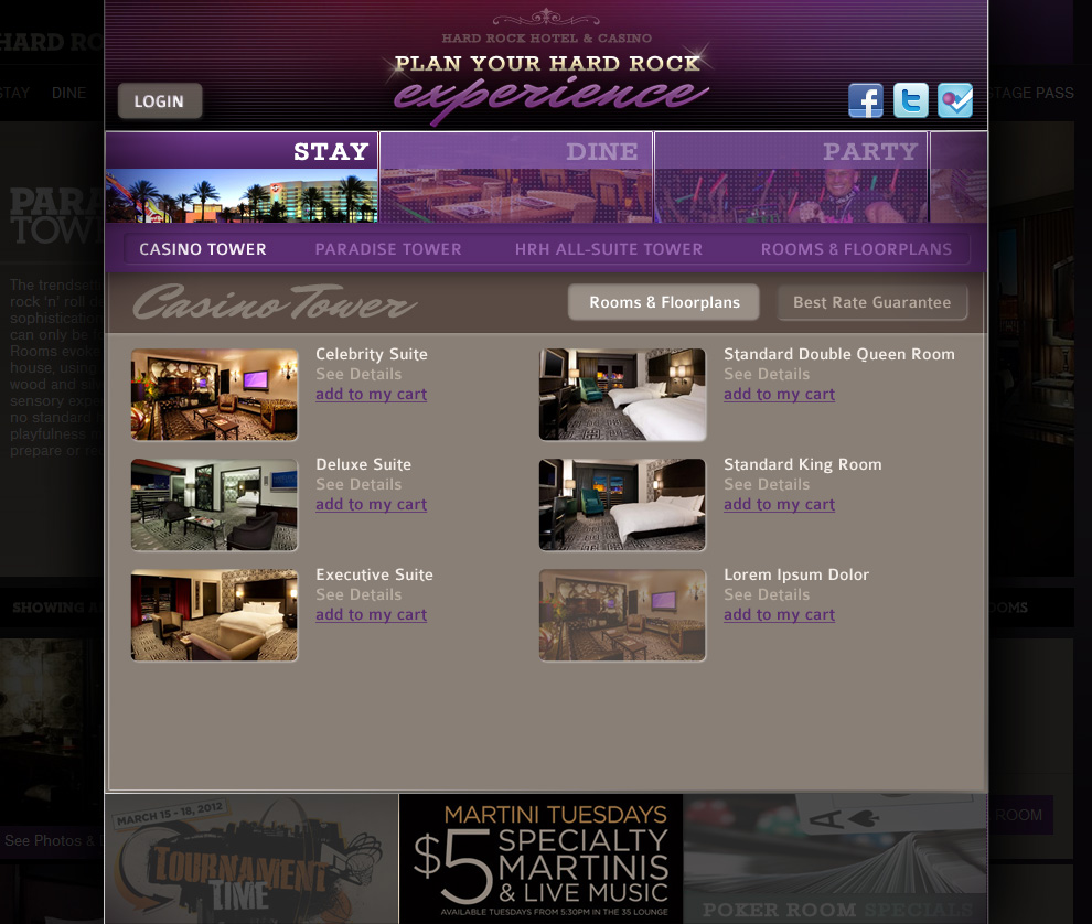 Hard Rock Hotel Las Vegas - Booking System Accommodations Page