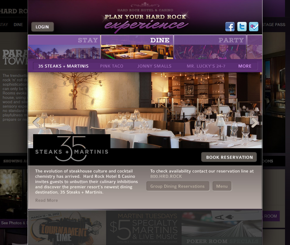 Hard Rock Hotel Las Vegas - Booking System Dining Detail Page