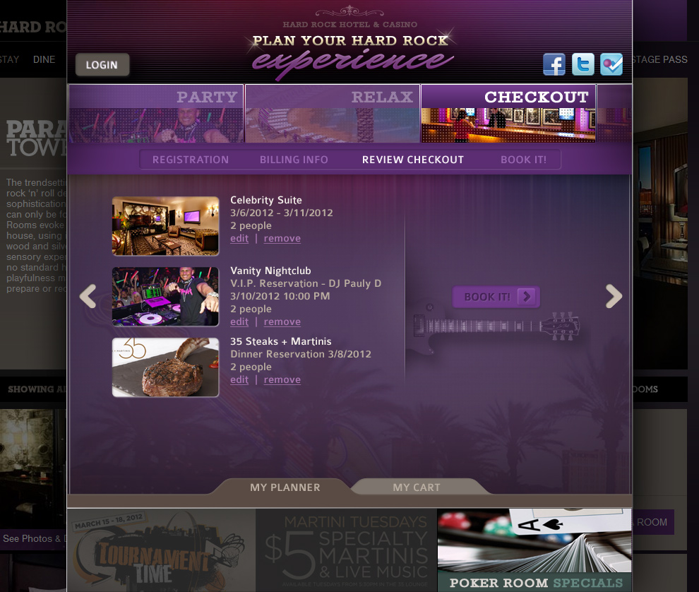 Hard Rock Hotel Las Vegas - Booking System Checkout Review Page