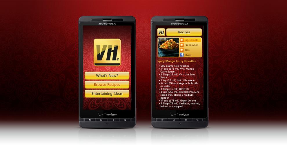 VH Sauces Mobile App Concept